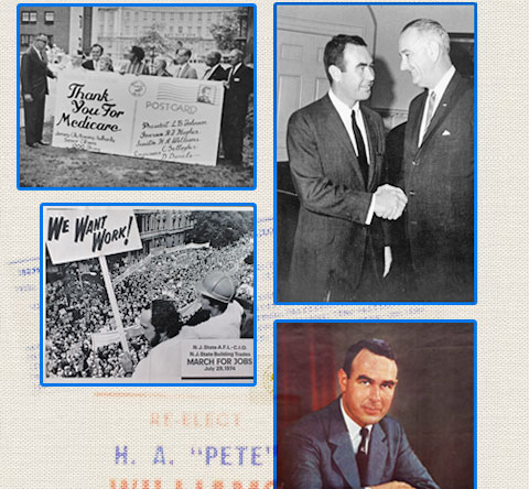 2 images in collage: thank you for medicare and Harrison with President Johnson
