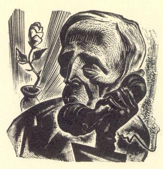 Vertigo by Lynd Ward: image 96 print - Elderly Gentleman is placing the call